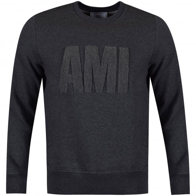AMI PARIS Dark Grey Toweled Logo Sweatshirt