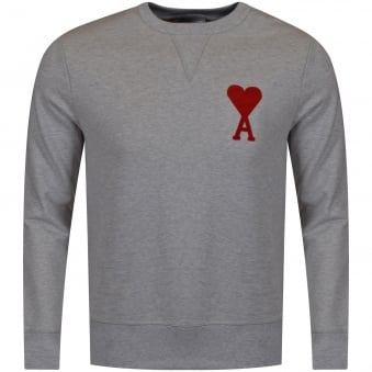 AMI Paris Grey/Red Logo Sweat