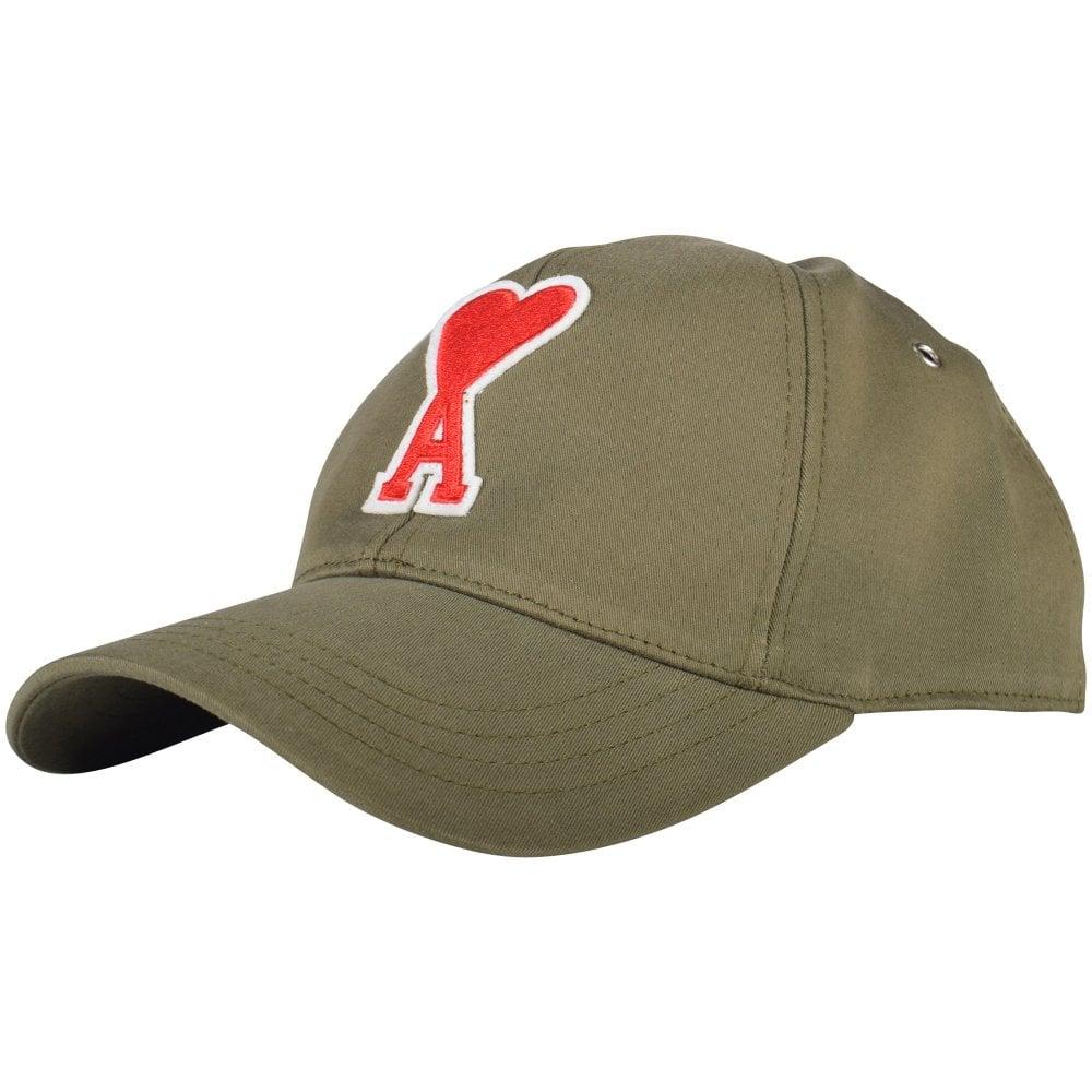 c8a830e02b0 AMI PARIS Khaki Logo Patch Baseball Cap - Men from Brother2Brother UK