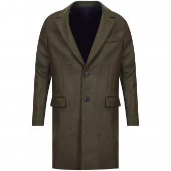 AMI Paris Khaki Wool Overcoat