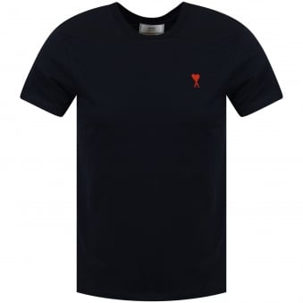 AMI Paris Navy Heart Logo T-Shirt
