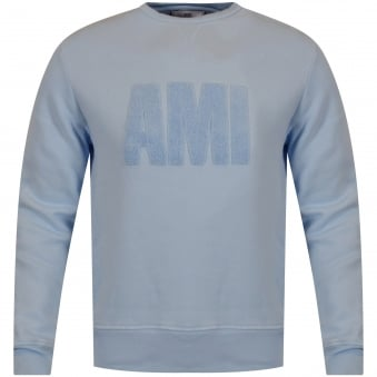 AMI Paris Sky Blue Toweled Logo Sweatshirt