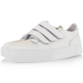 AMI Paris White Grained Leather Trainers