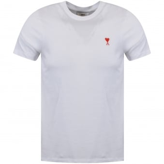 AMI Paris White Heart Logo T-Shirt