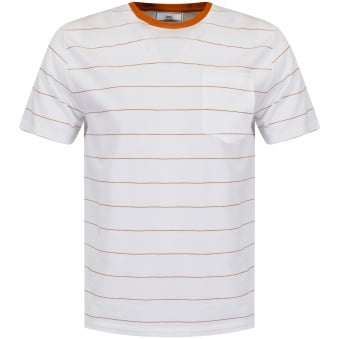 AMI Paris White & Orange Stripe Pocket T-Shirt
