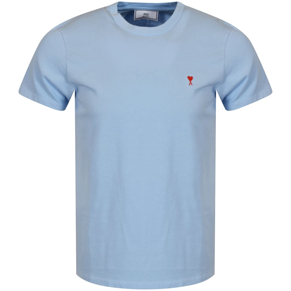 ami paris ami sky blue heart logo t shirt men from