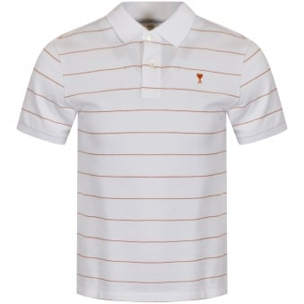 AMI White/Orange Stripe Polo Shirt