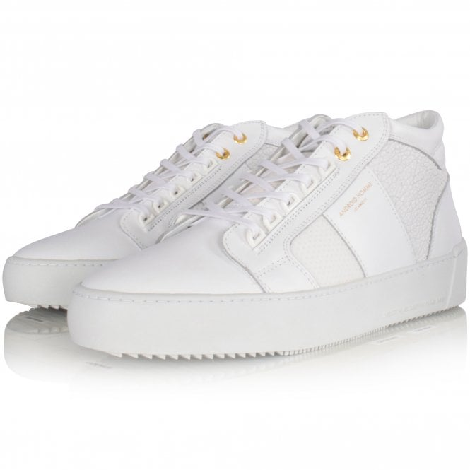 ANDROID HOMME Achromatic White Propulsion Mid Trainers Front