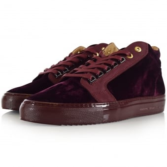 Android Homme Burgundy Velour Propulsion Mid Trainers
