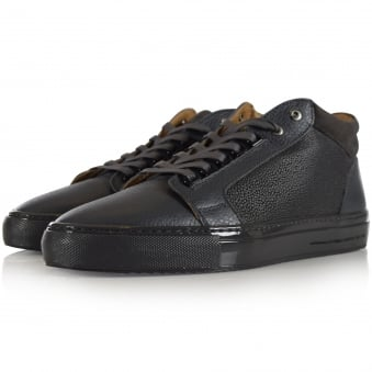 Android Homme Grey Leather Propulsion Mid Trainers
