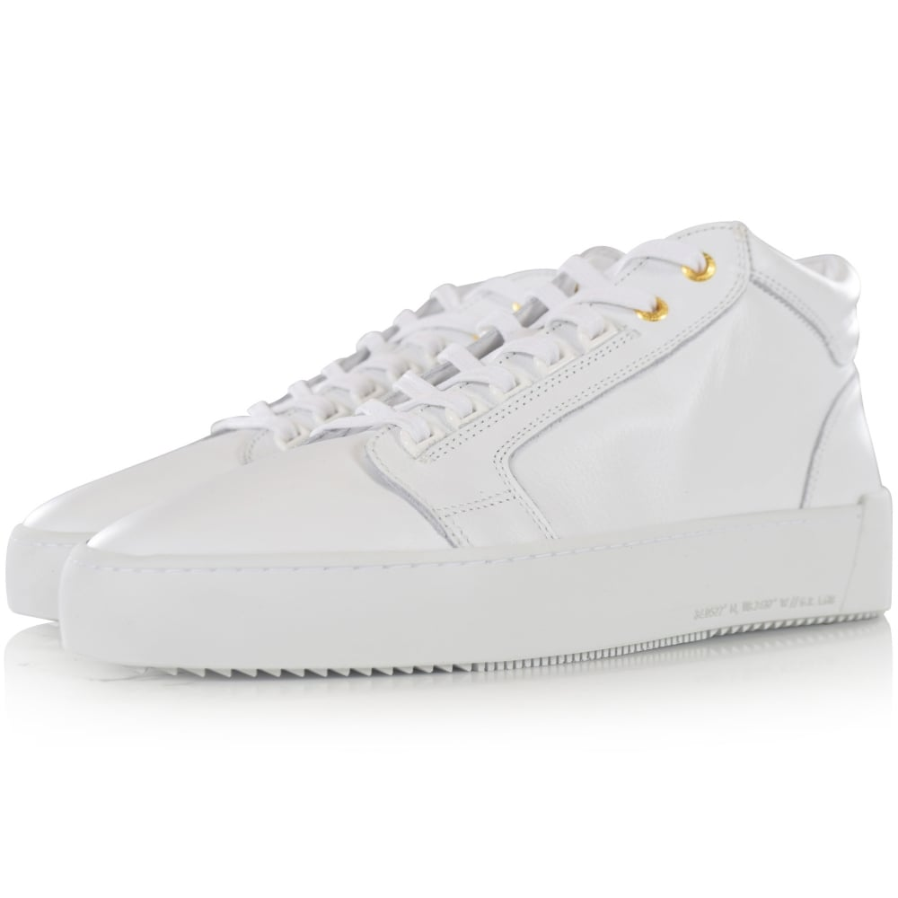 45195d8fdabc ANDROID HOMME Android Homme White Leather Mid Propulsion Trainers ...