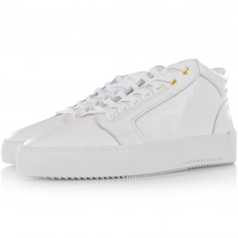 Android Homme White Leather Mid Propulsion Trainers