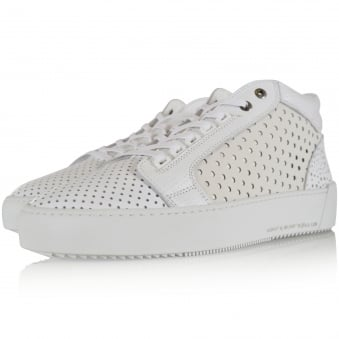 Android Homme White Perforated Propulsion Mid Trainers
