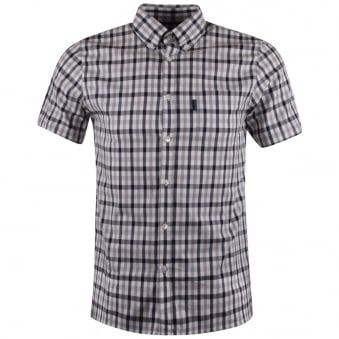 Aquascutum Navy Check Short Sleeve Shirt