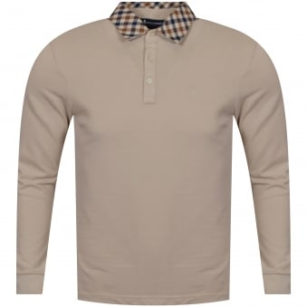 Aquascutum Nathan Beige Long Sleeved Polo