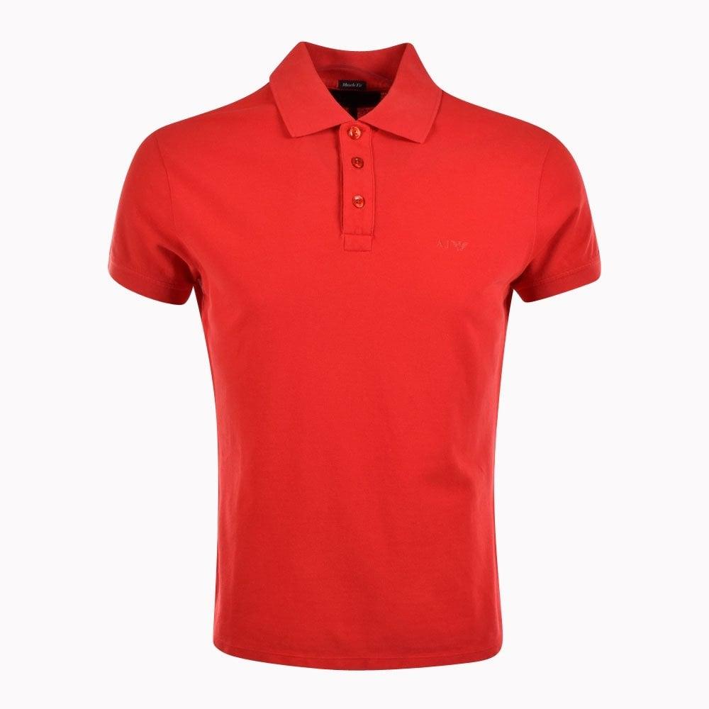 Armani Jeans 06m99hd Red Aj Logo Polo Shirt Armani Jeans