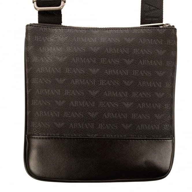 f5b43d00889 Armani Jeans All Over Print Black/Grey Leather Cross Body Bag