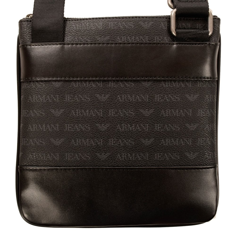 6706275d Armani Jeans All Over Print Black/Grey Leather Cross Body Bag