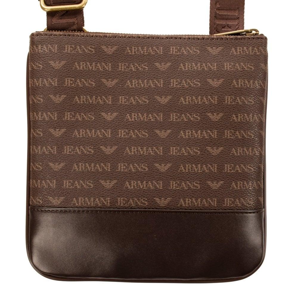 EMPORIO ARMANI Armani Jeans All Over Print Brown Leather Cross Body ... 22e7f3d13c9