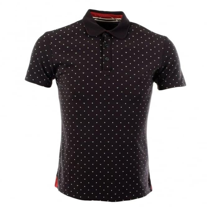 c962a37a3e0d armani jeans black short sleeve all over eagle spot print polo top uk