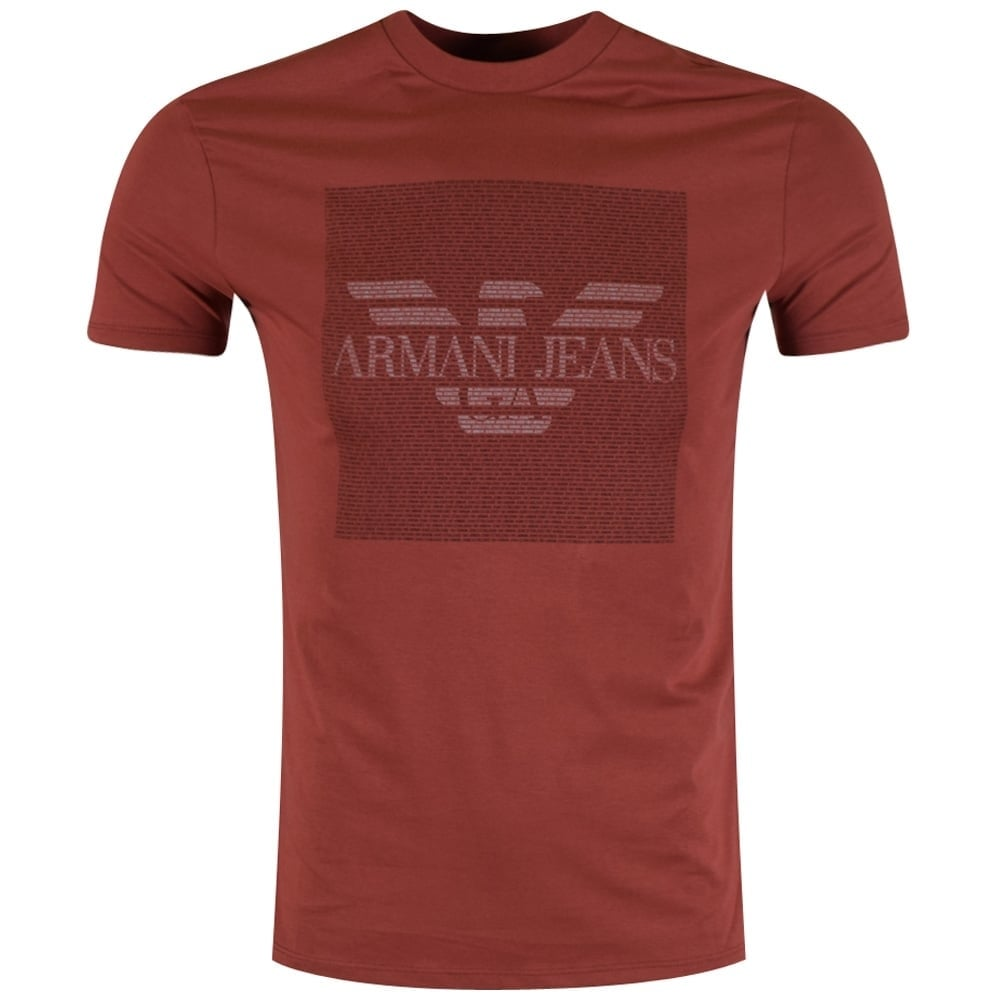 armani jeans armani jeans red micro text t shirt armani jeans from. Black Bedroom Furniture Sets. Home Design Ideas