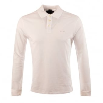 Armani Jeans White Long Sleeve Polo Shirt