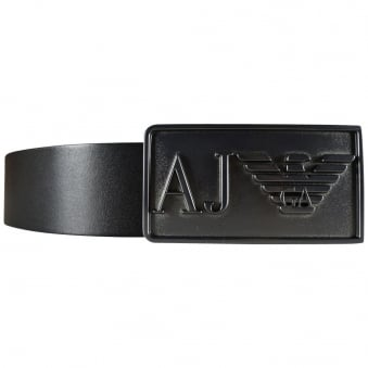 Armani Jeans Black Buckle Logo Belt