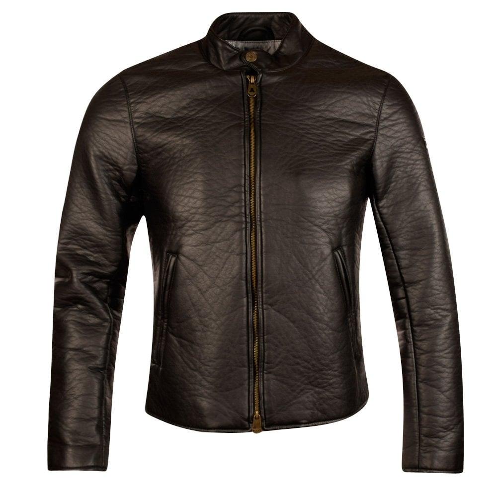 7d645669 Armani Jeans Black Creased Leather Bomber Jacket