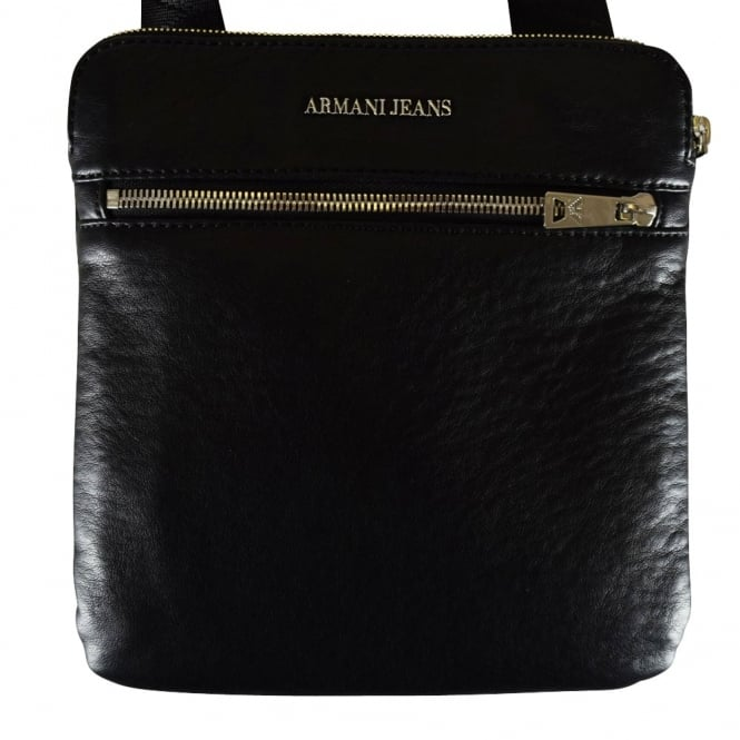 6fcb3fd728 EMPORIO ARMANI Armani Jeans Black Creased Leather Messenger Bag ...