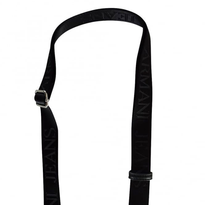 c1e2ddc1a834 EMPORIO ARMANI Armani Jeans Black Creased Leather Messenger Bag ...