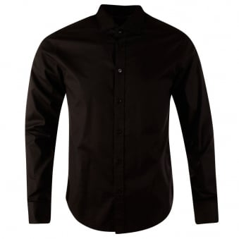 Armani Jeans Black Custom Fit Long Sleeve Shirt