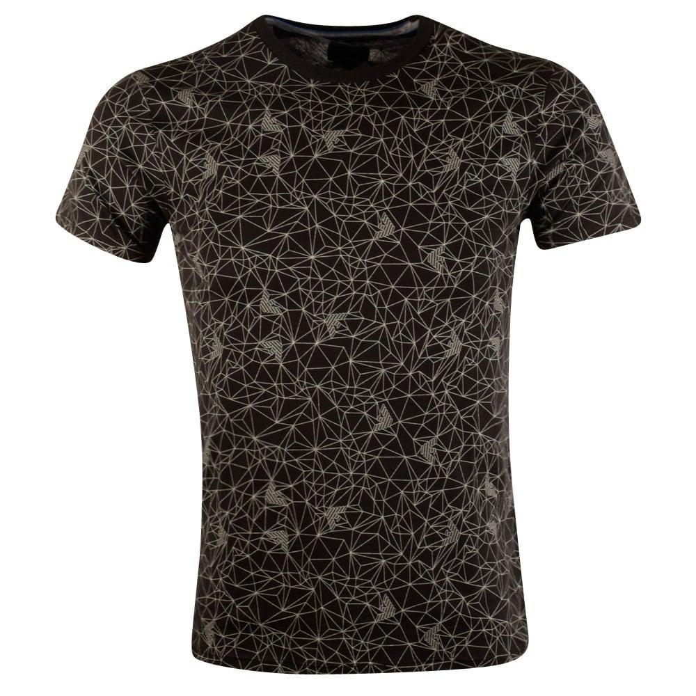 Emporio armani armani jeans black geometric print t shirt for Vista print tee shirt