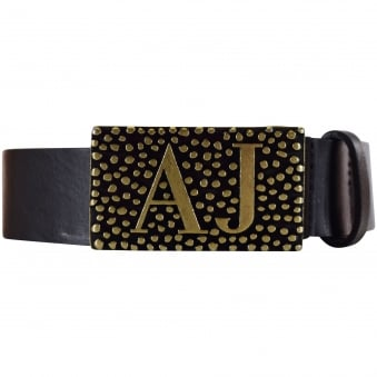 Armani Jeans Black/Gold Buckle Belt