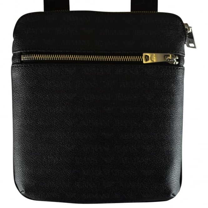 ARMANI JEANS Black Grained Leather Logo Body Bag