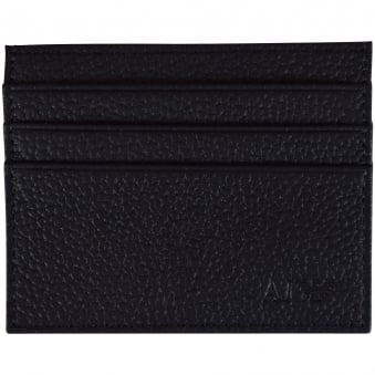Armani Jeans Black Grained Leather Logo Card Holder