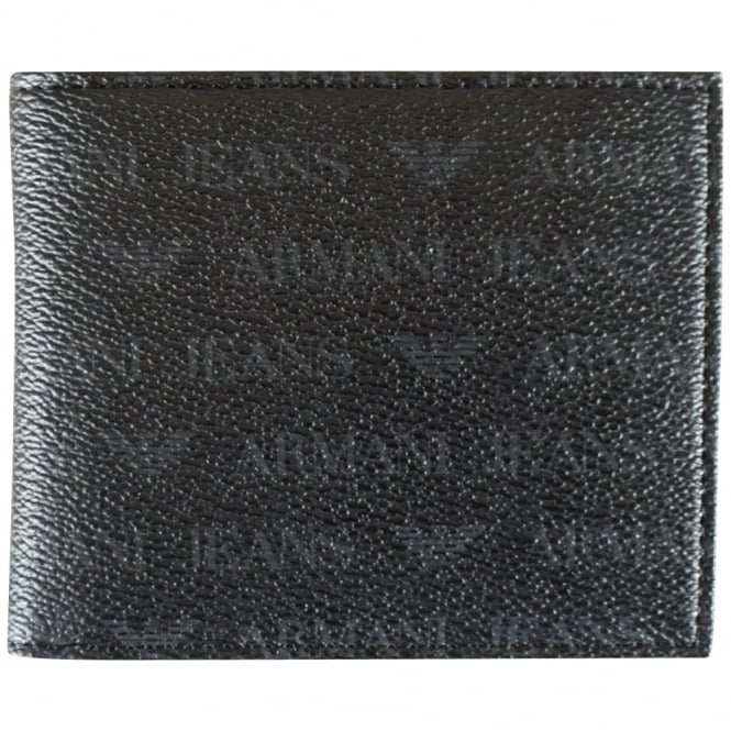 ARMANI JEANS Black Grained Multi Logo Wallet