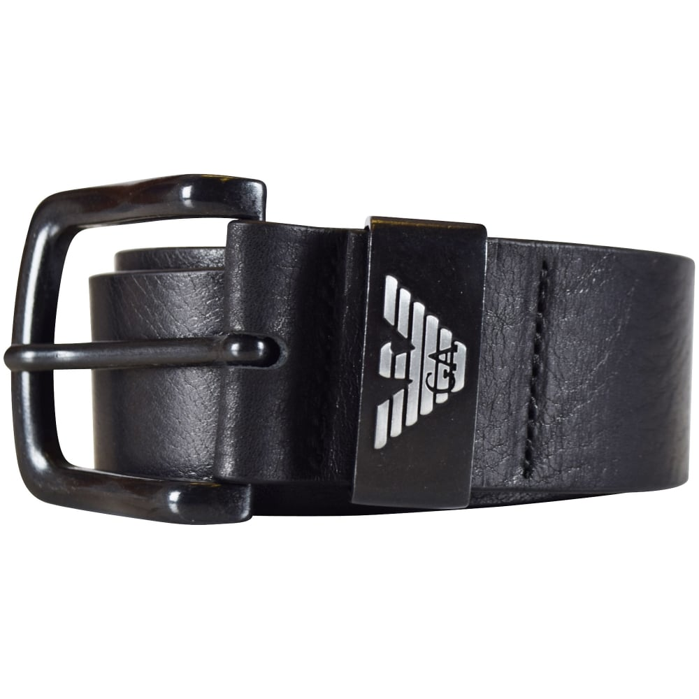 EMPORIO ARMANI Armani Jeans Black Leather Belt - Men from ...
