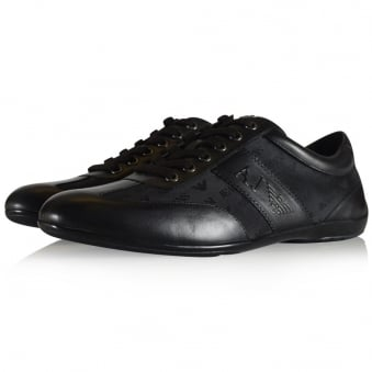 Armani Jeans Black Leather Logo Trainers