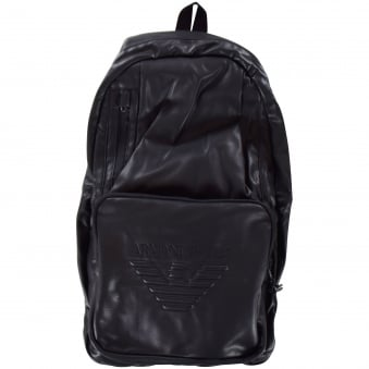 Armani Jeans Black Leather Look Backpack