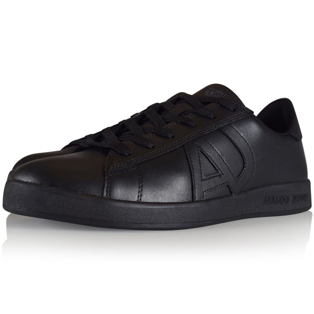 538c6377 Armani Jeans Black Leather Side Logo Trainers