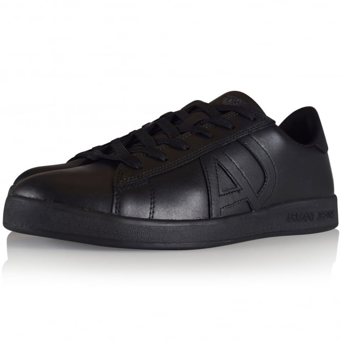 ARMANI JEANS Black Leather Side Logo Trainers