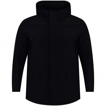 Armani Jeans Black Long Hooded Jacket