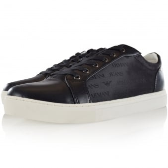 Armani Jeans Black Low Logo Trainers