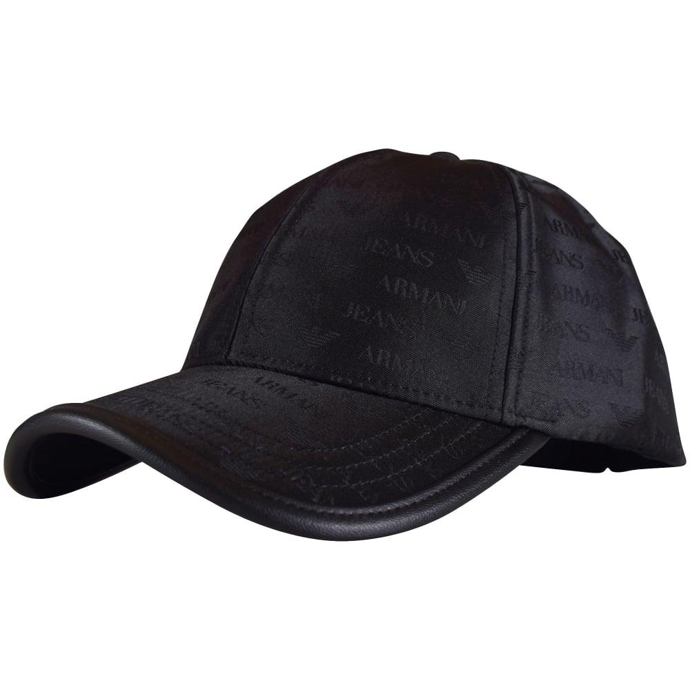 95361929ea62cb EMPORIO ARMANI Armani Jeans Black Multi Logo Nylon Baseball Cap ...