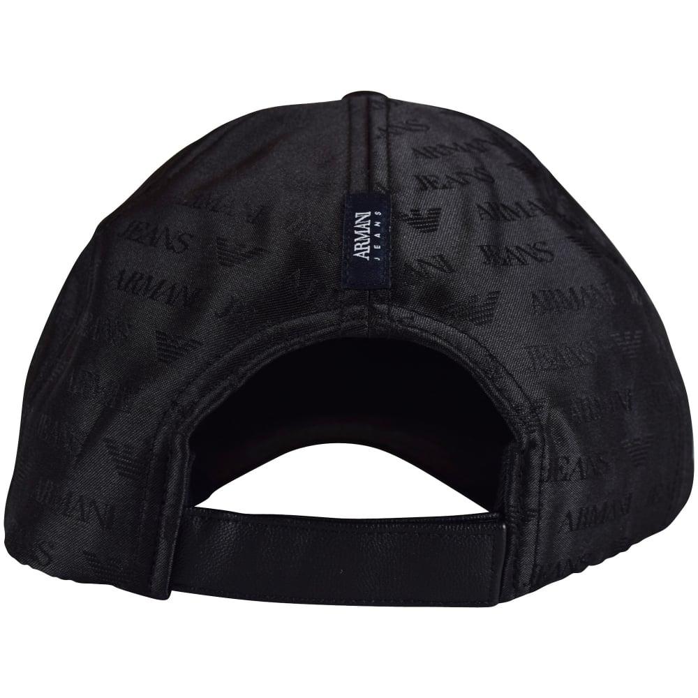 aa920719 EMPORIO ARMANI Armani Jeans Black Multi Logo Nylon Baseball Cap ...