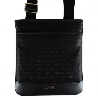 Armani Jeans Black Nylon All Over Logo Body Bag