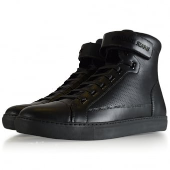 Armani Jeans Black Perforated Hi Top Trainers
