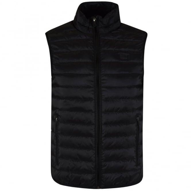 ARMANI JEANS Black Quilted Logo Gilet