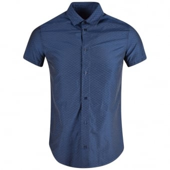 Armani Jeans Blue Micro Stitch Short Sleeve Shirt