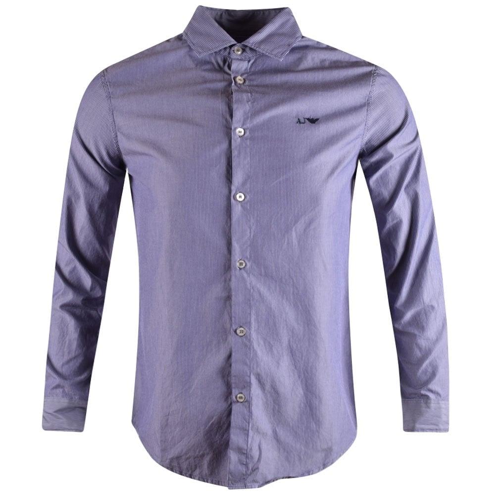 0383909e92 EMPORIO ARMANI Armani Jeans Blue Riga Stripe Long Sleeve Shirt ...